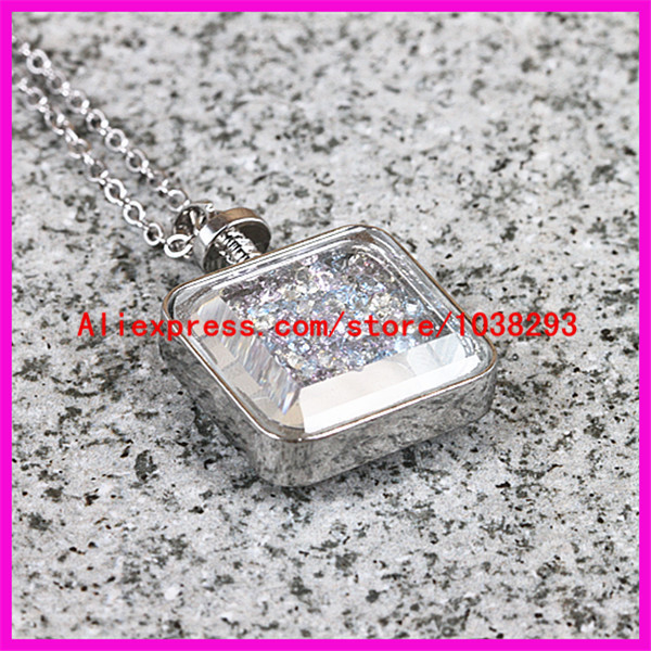 1PCS Wish box necklace , real bling gravel Crystal quartz necklace, Silver plated Chain necklace ,real colorful Crystal necklace(China (Mainland))