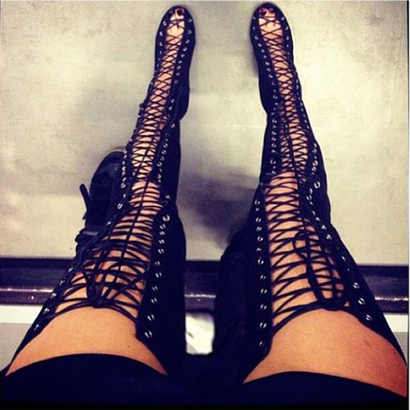 Popular Sexy Lace up High Heels Boots-Buy Cheap Sexy Lace up High ...