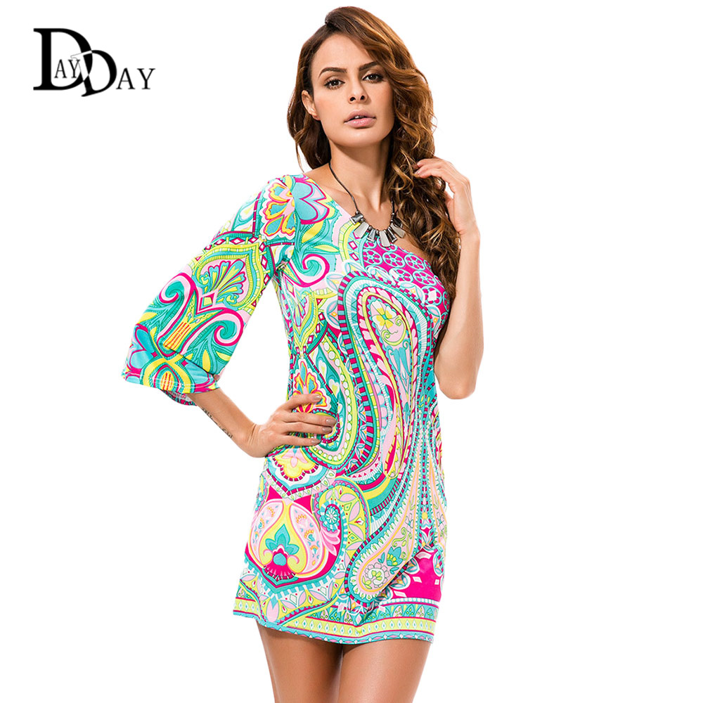 2016 Women Summer BOHO Dresses Paisley Printed Long Sleeve One Shoulder Slim Waist Sexy Beach Wear Mini Dress C103(China (Mainland))