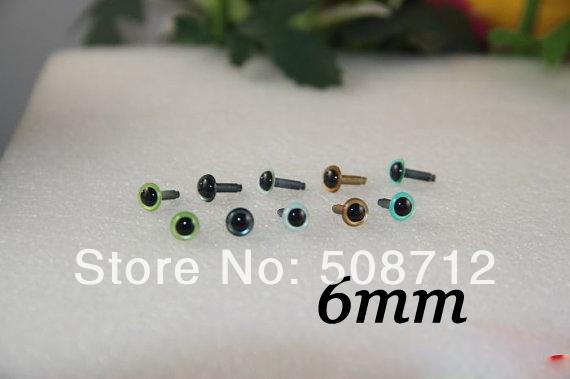 fress ship!!! 50 pairs 6mm fantasy color safety eye fantasy color safety eyes teddy bear DIY accessories(China (Mainland))