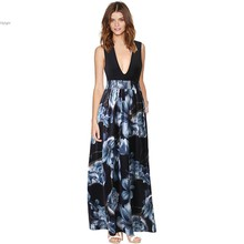 Buy Women Fashion Casual Sexy Deep V Neck Sleeveless Elastic High Waist dresses Floral Patchwork Stretch Maxi Long Dress vy for $9.82 in AliExpress store