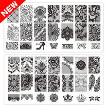 New Lace Flowers Nail Art Stamp Stamping Image Plate 10pcs/lot 6*12cm Stainless Steel Nail Template Manicure Stencil Tools