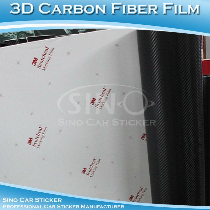 1.52x30M 5x98FT Super Quality Air Bubble Free Black 3M 3D Carbon Fiber Vinyl(China (Mainland))