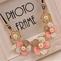 Min order 10 Free shipping Imitation rhinestone gem pearl DAISY rose flower statement necklace summer style