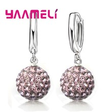 Hot Sale Multicolors One Pair 925 Sterling Silver Austrian Crystal Pave Disco Ball Hoop Lever back Earring Women Jewelry(China)
