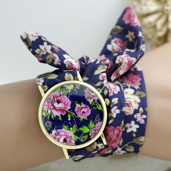 Flower Cloth Wristwatch