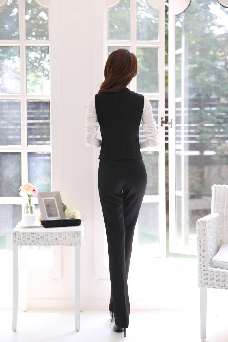 Novelty Grey Autumn And Winter Professional Female Pantsuits Ladies Office Business Jackets + Pants + Vest Ladies Trousers Set