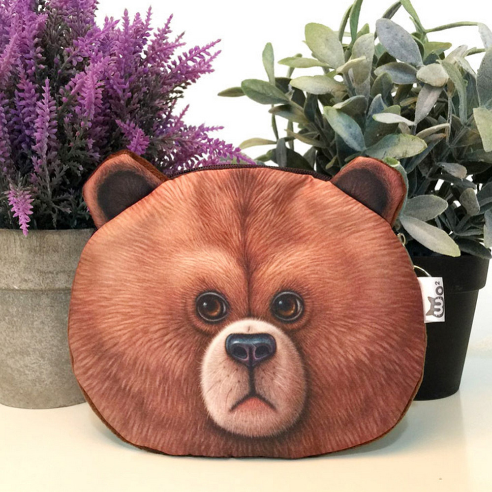 Harajuku Mini Coin Purse Wallet 3D printing Cartoon animal big face cute small zipper bag Children Kids Wallet pouch monedero Y3(China (Mainland))