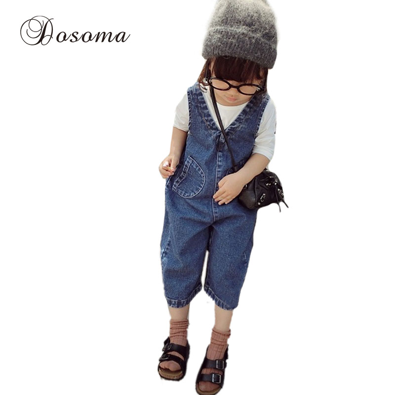 children overalls denim 2016 new spring&autumn girls denim overalls nine pants boys overalls kids Straps jeans 2~7 years cotton(China (Mainland))