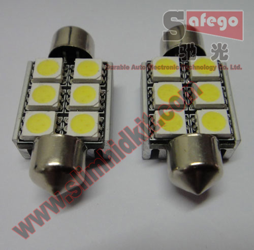 1Door lights 6 smd festoon 36mm canbus white color 12v led light car 6smd Festoon C5W LED Dome Light - Guangzhou Durable Auto Electronic Technology Co.,Ltd store