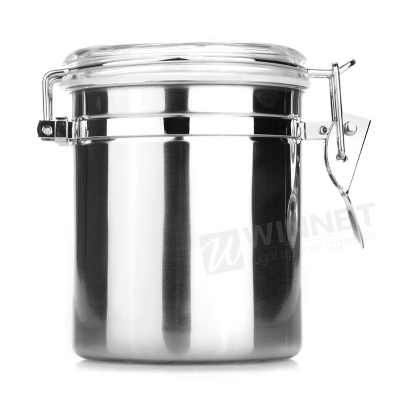 Home Kitchen Stainless Steel Airtight Sealed Canister Dry Food Container 1260ML(China (Mainland))