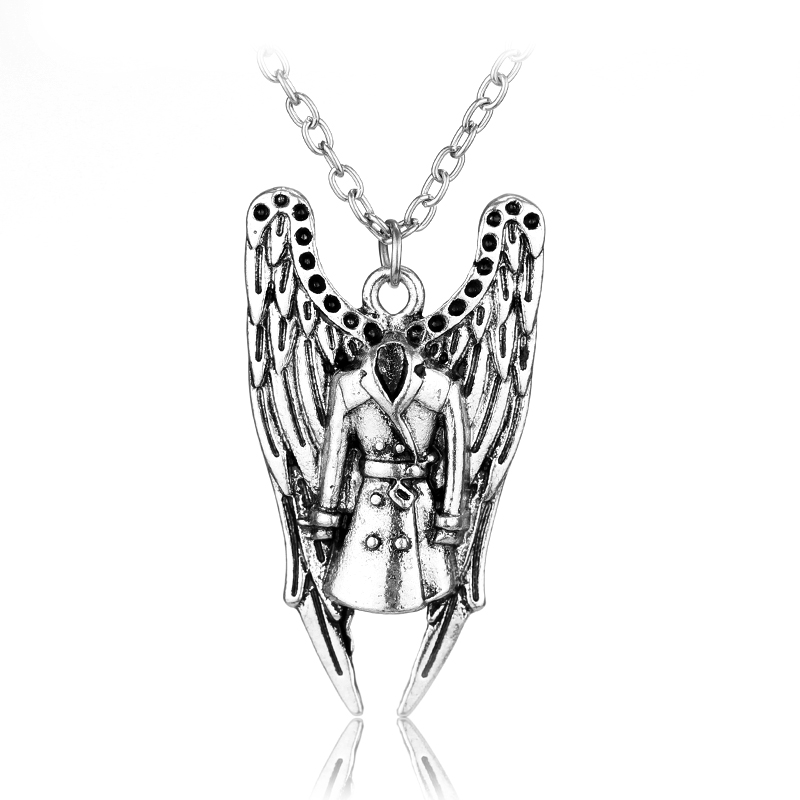 Movie series Supernatural Castiel Wings Angel wicca pendant necklace(China (Mainland))