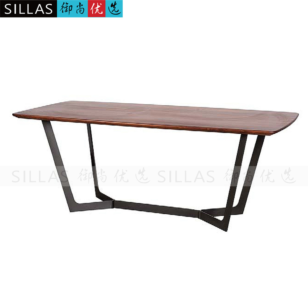 Black walnut dining table two meters long conference table for Long dark wood dining table