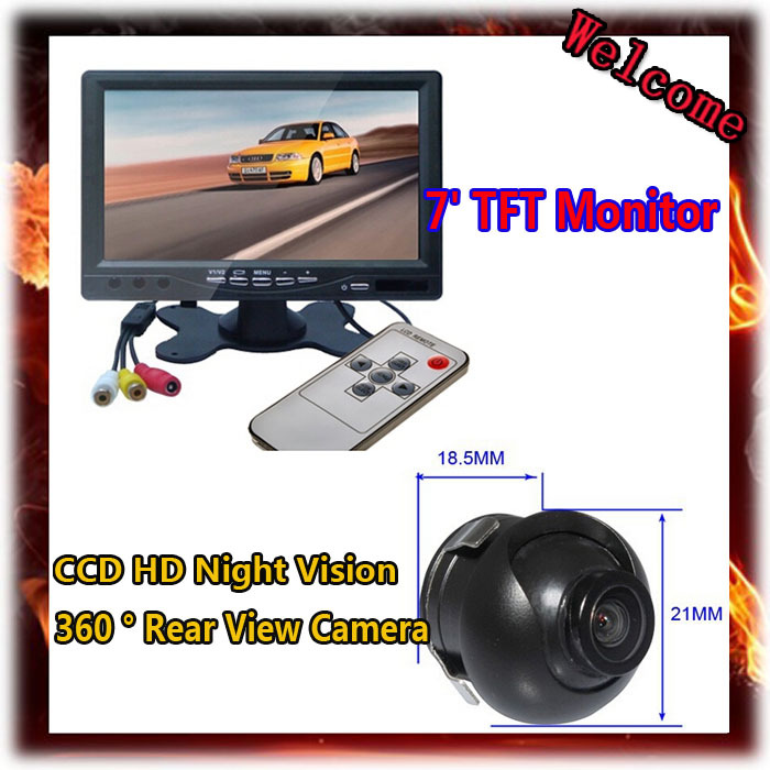7 Inch TFT Headrest Mirror Monitor With 2 Video Input+18.5mm CCD HD Night Vision 360 Degree Rear View Camera Reversing Parking<br><br>Aliexpress