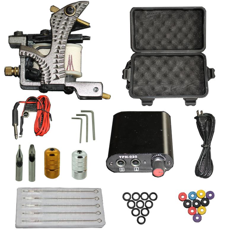 High Quality Complete Tattoo Kit Set Equipment Machine Power Supply gun needles Wholesale(China (Mainland))