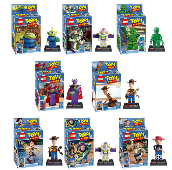 NEW hot 8pcs/set Toy Story Buzz Lightyear Woody Action Figures Building with card Blocks Bricks Compatible toys No box(China (Mainland))