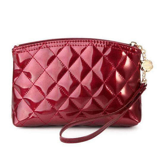 2015 New Lattice Makeup Bag Female Leather Fashion Cosmetic Bag Travel Makeup Organizer Box Case Desigual Maleta De Maquiagem(China (Mainland))