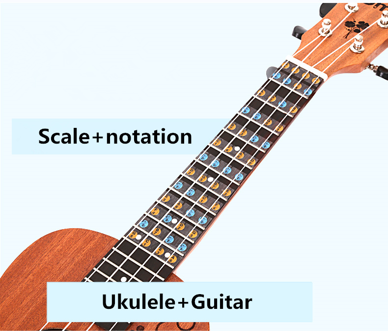 Guitar Ukulele Fretboard Note Sticker Fingerboard Scale Notation Ukelele Guitarra Parts Beginner Learn Faster Music Theory(China (Mainland))