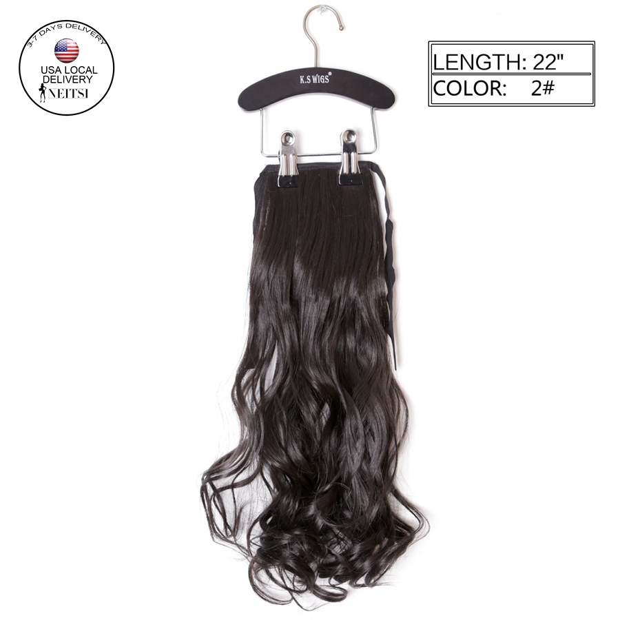 """Neitsi Synthetic Clip In Ponytails Hair Extensions 1pc 22"""" 80g 2# Dark Brown Curly Wavy Pony Tails Hairpieces US Local Delivery(China (Mainland))"""