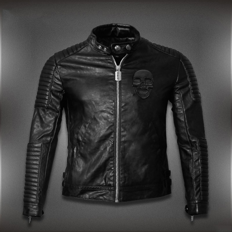 New Hot HOt New Warm Men's Leather Motorcycle Standing Collar Jackets Coat embroidery skulls free shipping(China (Mainland))