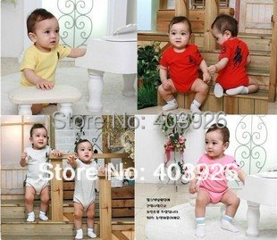 wholesale - Autumn baby/kid Short sleeve Packet ass Romper ha clothing/climb/Conjoined romper 6pcs/lot 4colors