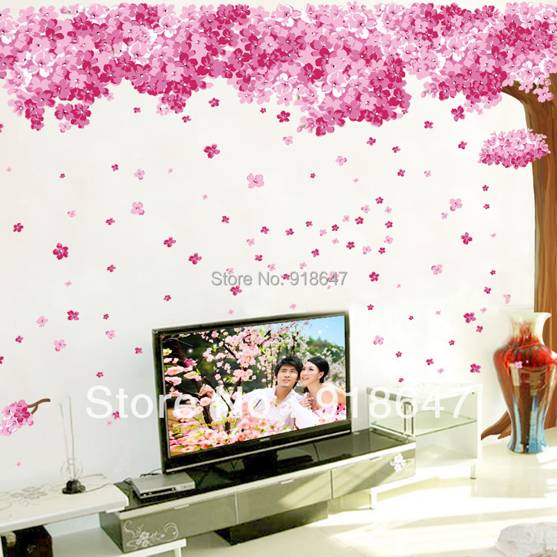New products extra large romantic pink sakura wall for Cherry blossom tree wall mural