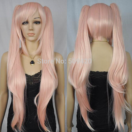 ZCS 719 WW00003324 Free Shipping ==hot sell new women long straight two pigtails light pink cosplay party cap wig(China (Mainland))
