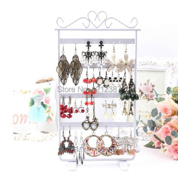 Acylic Earrings Display 48 Hole Rack Organizers Showcase Stand Holder Hanging Hanger Base White HB88(China (Mainland))