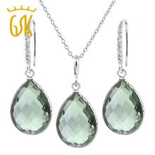 "19.50 Ct 16x12mm Green Natural Amethyst Jewelry Set  Pear Shape 925 Sterling Silver Pendant Earrings Set 18"" Chain GemStoneKing(China (Mainland))"