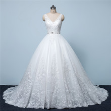 New Design A-Line Lace Wedding Dresses 2016 V-Neck Beaded Sash Backless Sexy Vintage Wedding Gowns China Online Shop W12245(China (Mainland))
