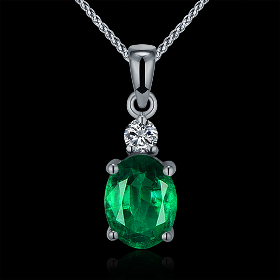 Hot!Natural Emarald Pendant Necklace,Real Diamond Pendant Emerald In Solid 18K White Gold For Women WP057(China (Mainland))