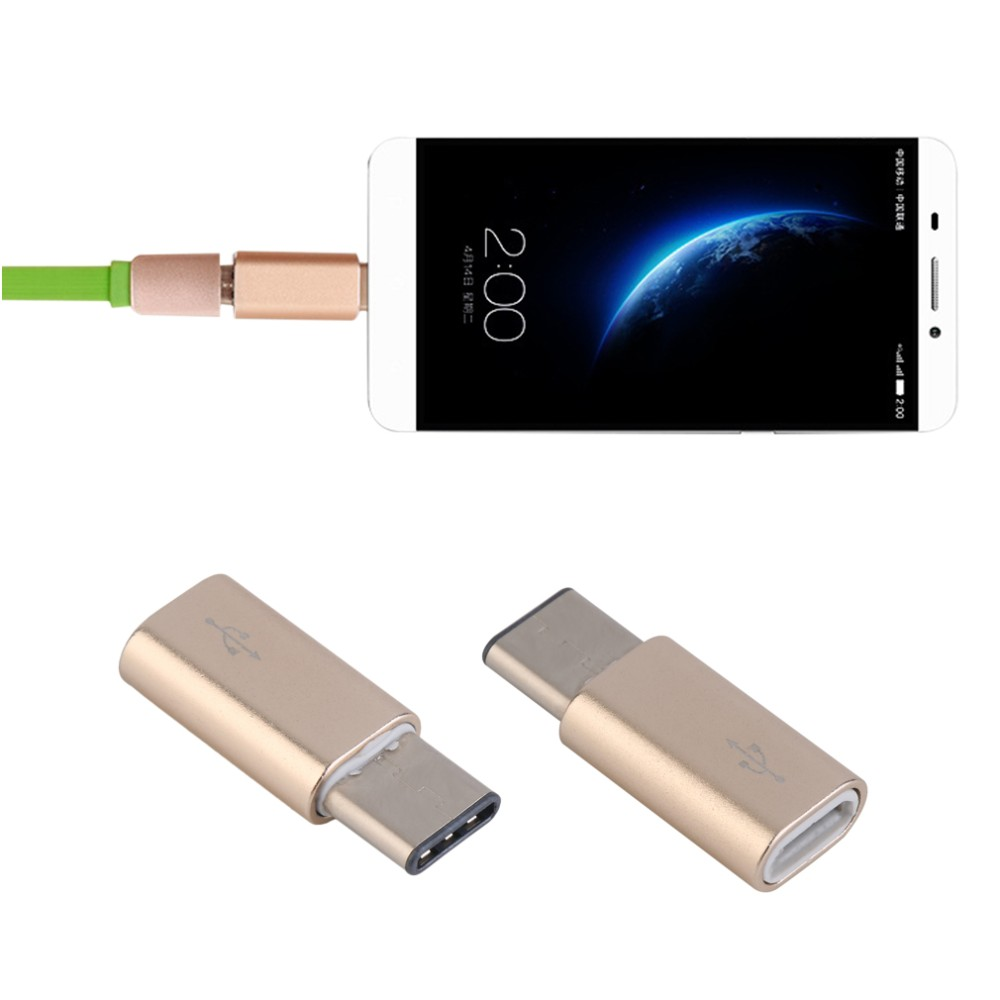 Aluminium Type-C Male Connector to Micro USB Female Cable Converter Adapter for Tablet Mobile Phone White & Gold Wholesale