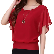 Summer Women Blouse High Quality Chiffon Soft Stretchy Fabric Plus Size XS-4XL Ruffle Batwing Short Sleeve Casual Shirt