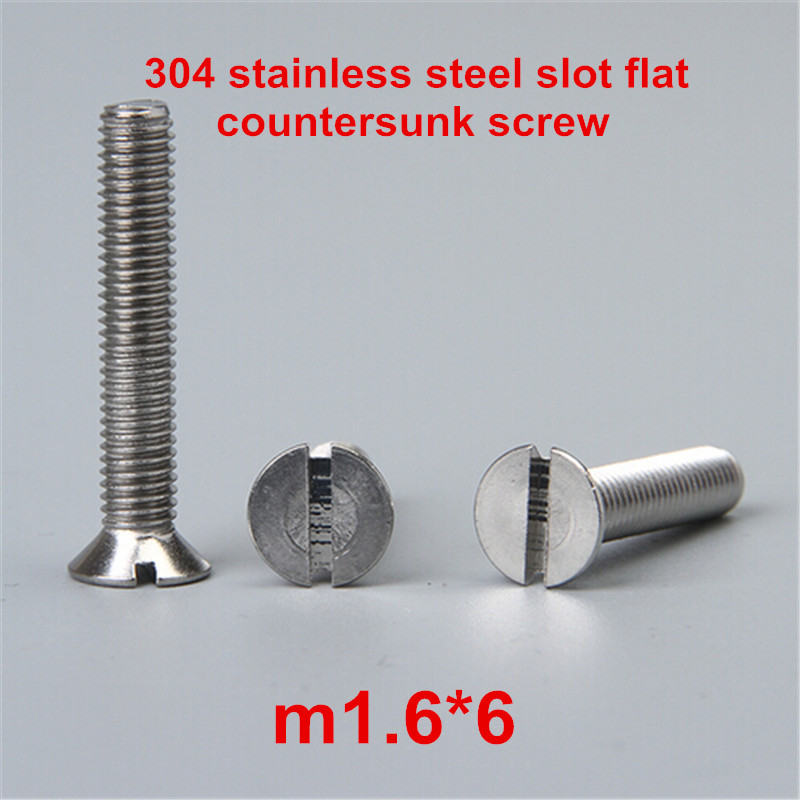 100pcs m1.6*6 304 stainless steel slot / slotted drive flat countersunk head machine screw<br><br>Aliexpress