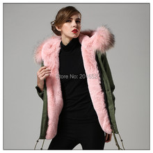 New arrived trench coat faux fur lined and real raccoon dog pink fur collar mr mrs fur jacket in men's and women's(China (Mainland))
