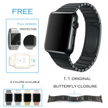 URVOI link bracelet for apple watch band stainless steel strap with 1:1 original butterfly clasp space black&silver generation 3