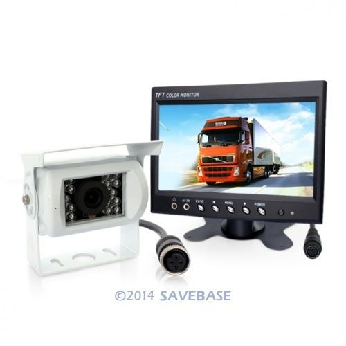 "HOMSECUR 4Wd Suv Mic Sound Backup White Camera Rear View Kit + 7"" Lcd Rearview Monitor(China (Mainland))"