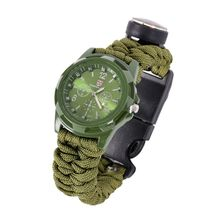 Retail Wholesale Multifunctional 6-in-1 Watches Artificial Braided Watchband Strap Umbrella Rope Watch with Compass(China (Mainland))