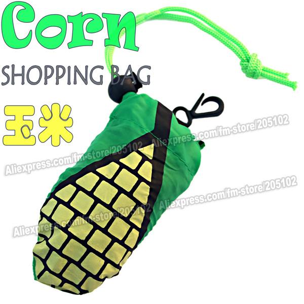 10pcs/lot Fashion Corn fruit folding fabric shopping bag,Black color Eco-friendly durable foldable handle bag(China (Mainland))