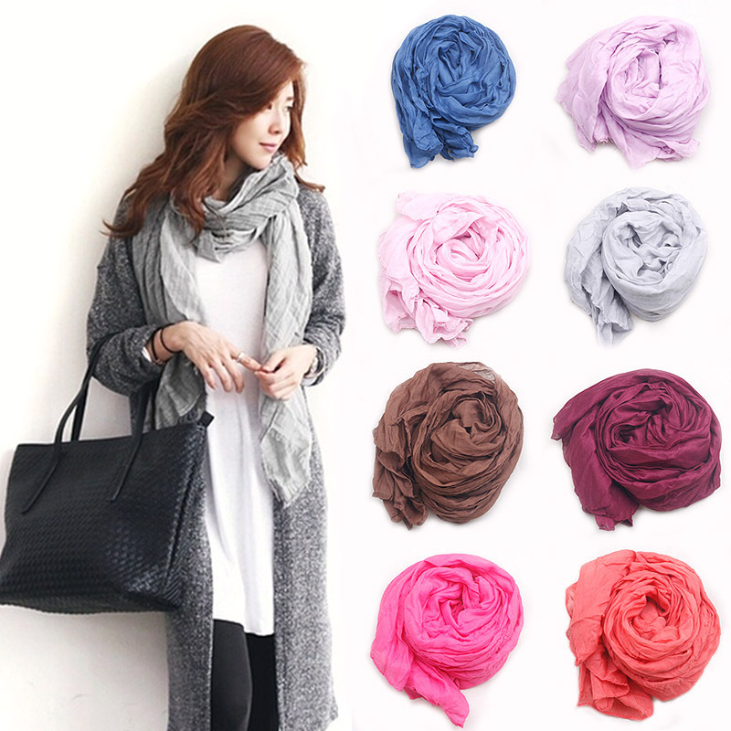 Silk Scarves Solid color shawls all-match women's ultra long brand style winter scarf candy color cape salomon Spain bufandas(China (Mainland))