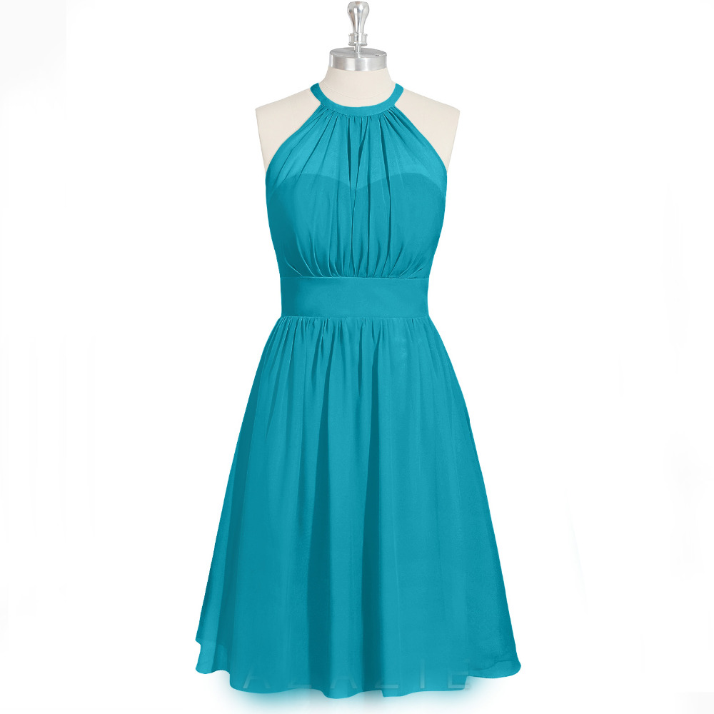 Plus size halter a line knee length short turquoise cheap for Cheap wedding and bridesmaid dresses