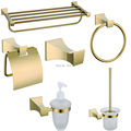 2016 Europe Luxury Bathroom Hardware Set Space Classic Glass Gold Finish Brass Bath Accessories for Bathroom