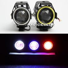 2pcs CREE U7 Motorcycles LED Headlights DRL Driving Fog Lights Spotlight Motorbike Laser Light Angel eye+ Devil eye(China (Mainland))