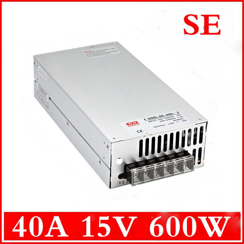 (SE-600-15) 110VAC(220VAC) to 15V DC 600W Switched-mode power supply 40A 15V 600W led switching power supply