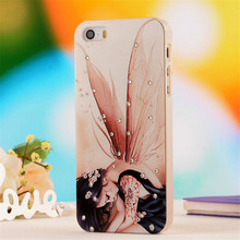 Rose Flower Pattern,5S Fashion 3D Diamond Dimensional Relief Painted Case Cover for iPhone 5 5S Mobile Phone Bag