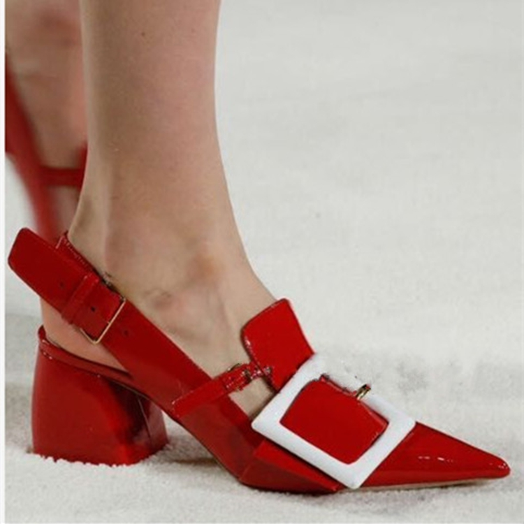 Women Shoes High Heel 2015 Luxury Brand Women Square High Heel Pointed Buckle Strap Red Shoes Pumps Ladies Wedding Dress Shoe(China (Mainland))