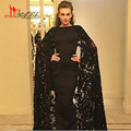 2017 Black Evening Dress Lace Mermaid Prom Dresses with Jacket Dubai Kaftan Formal Dress Evening Party
