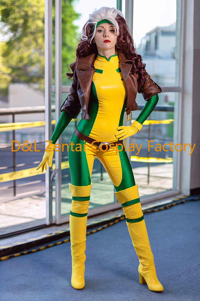 Aliexpress Com Free Shipping Dhl 2016 X Men Rogue Cosplay Costume Yellow And Green Lycra Spandex