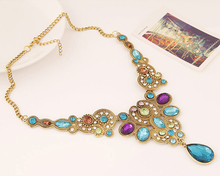 Fine Jewelry Long Blue Maxi Crystal Neclace for Women Vintage Gold Plated Statement Necklaces Pendants Indian