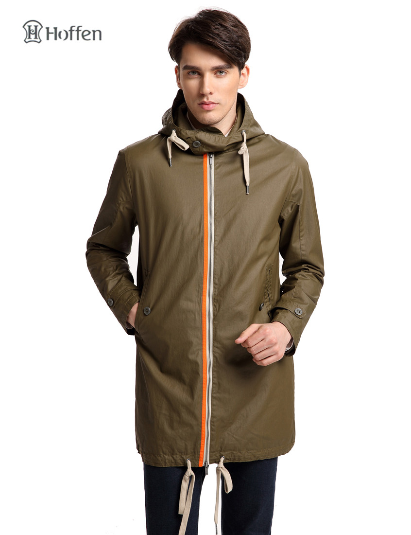 Hoffen new arrivals men's trench coat waterproof hooded mens overcoat casual long coat men high quality long jacket RS14-KUM400(China (Mainland))